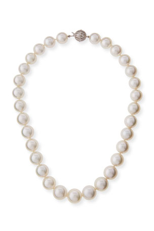Belpearl South Sea Pearl Necklace with Diamond Ball Clasp, 18""