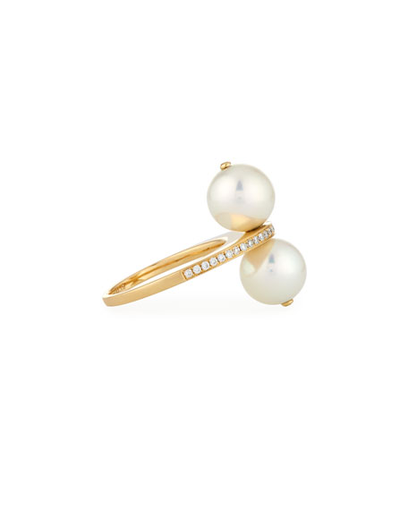 Stacked Akoya Pearl Ring with Channel-Set Diamond Band in 18K Gold, Size 7