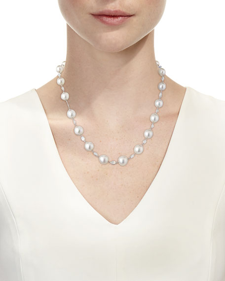 South Sea Pearl & Moonstone Station Necklace in 18K White Gold