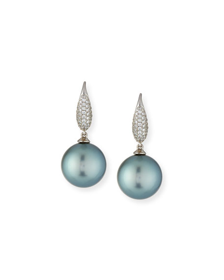 Pave Diamond & Tahitian Pearl Drop Earrings in 18K White Gold