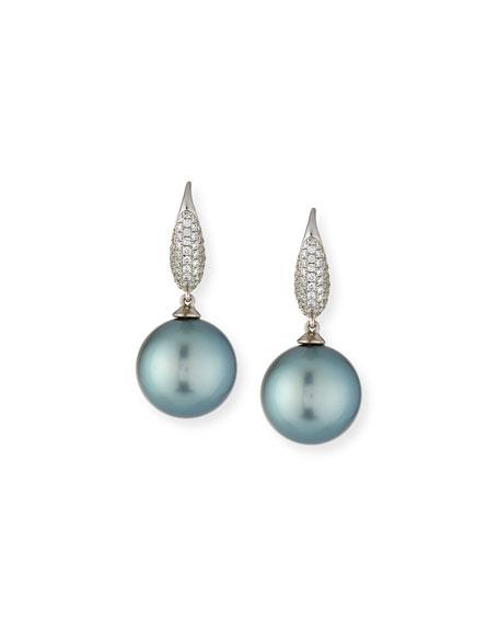 Pavé Diamond & Tahitian Pearl Drop Earrings in 18K White Gold
