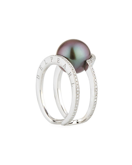 Kobe Sunrise Tahitian Pearl & Diamond Ring, Size 7.5