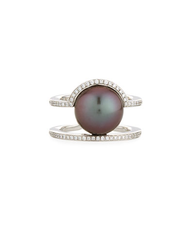 Illusion-Set Tahitian Pearl Ring with Diamonds in 18K White Gold