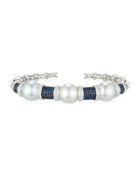 South Sea Pearl Bracelet with Blue Sapphires & Diamonds in 18K White Gold