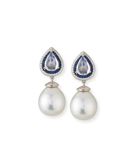 Belpearl South Sea Pearl Drop Earrings with Moonstone,