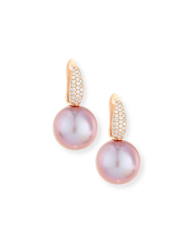 Belpearl 18k Diamond Daisy Pearl Drop Earrings vI3Dr