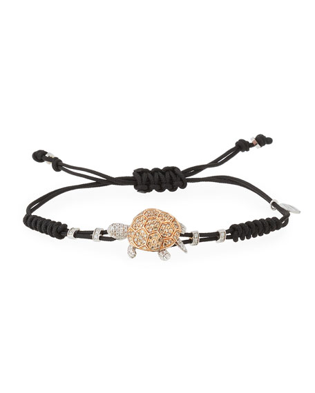 Pull-Cord Bracelet with Brown Diamond Turtle in 18K Gold