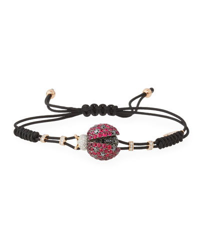 Pull-Cord Bracelet with Ruby & Diamond Ladybug in 18K Gold