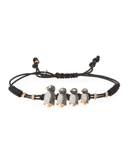 Pull-Cord Bracelet with Black & White Diamond Penguins in 18K Gold