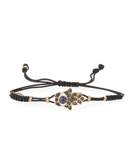Pull-Cord Bracelet with Black Diamond Fatima Hand