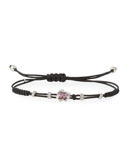 Pippo Perez Pull-Cord Bracelet with Pink Sapphire Frog