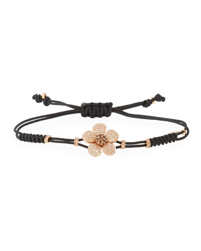 Pull-Cord Bracelet with Brown Diamond Daisy in 18K Gold