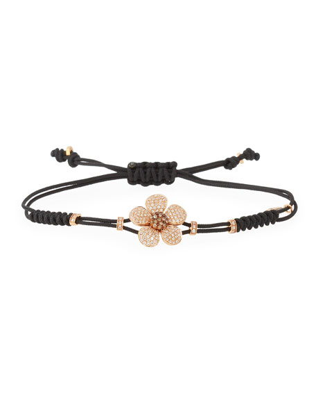 Pippo Perez Pull Cord Bracelet With Brown Diamond Daisy In 18k Gold Neiman Marcus