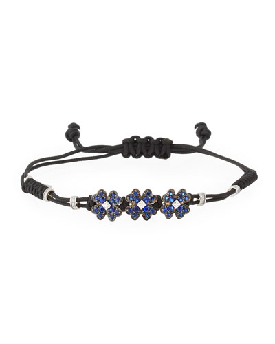 Pull-Cord Bracelet with Blue Sapphires Clovers in 18K White Gold