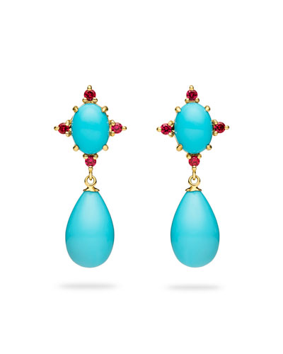 Turquoise & Ruby Drop Earrings