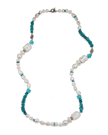 Multi-station Necklace in Turquoise & Aqua Chalcedony