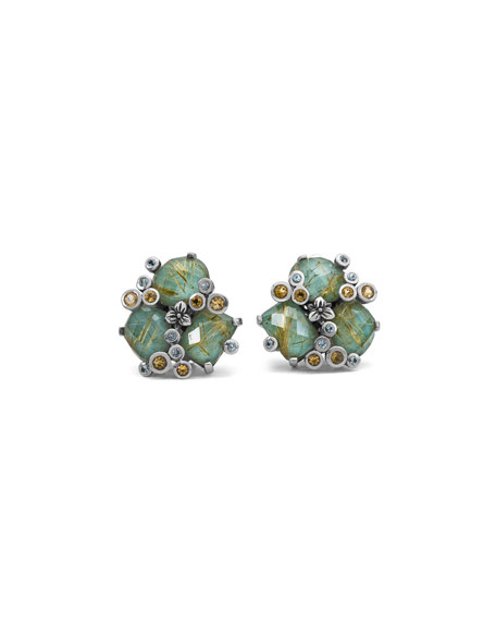 Turquoise & Quartz Doublet Cluster Earrings