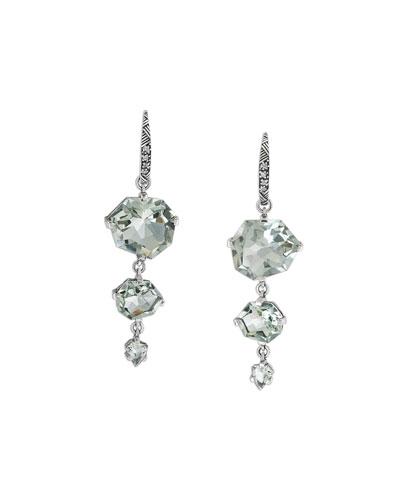 Staggered Green Amethyst Drop Earrings