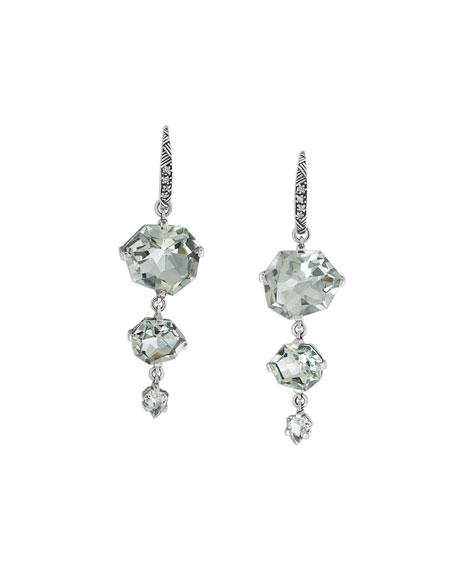 Staggered Green Amethyst Drop Earrings