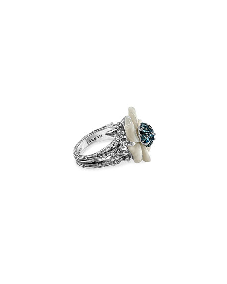 Small Floral Mother-of-Pearl & Swiss Blue Ring