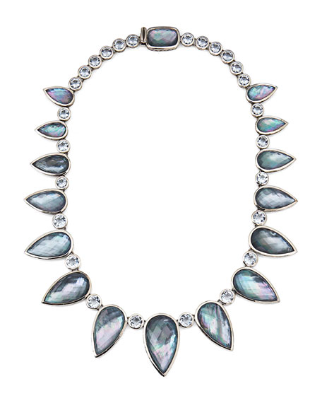 Faceted Hematite Pear Station Necklace