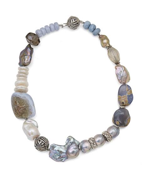 Smoky Quartz & Blue Lace Agate Beaded Necklace