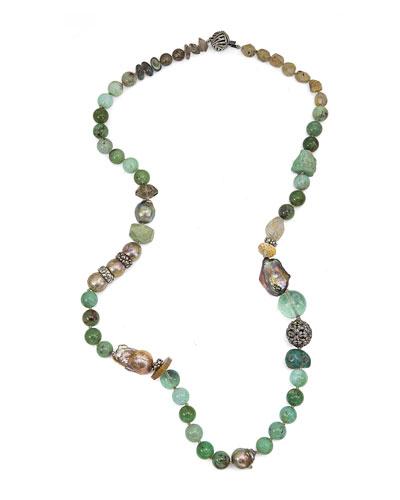 Chrysoprase, Labradorite & Smoky Quartz Beaded Necklace