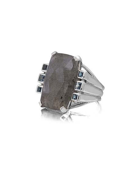 Labradorite & London Blue Topaz Ring