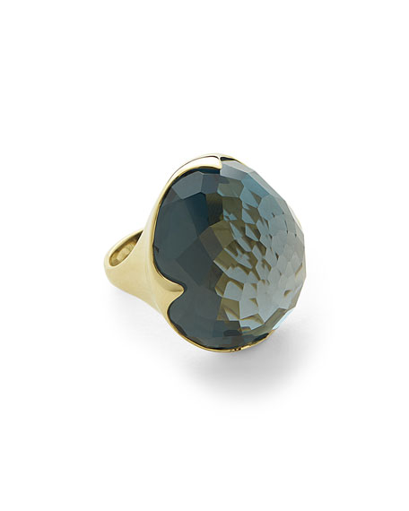 Faceted London Blue Topaz King Ring