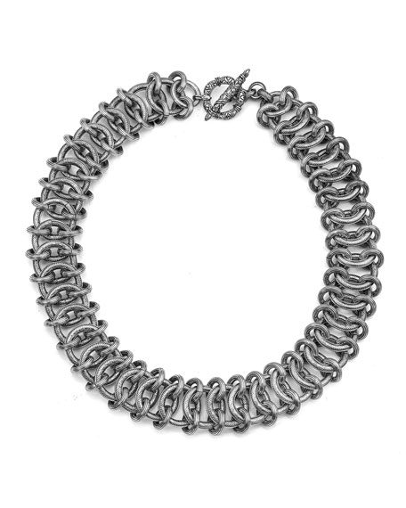 Stephen Dweck Engraved Double-Link Chain Necklace