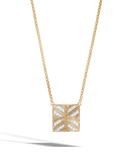 John hardy modern chain 18k gold square pendant necklace with modern chain 18k gold square pendant necklace with diamonds mozeypictures Image collections