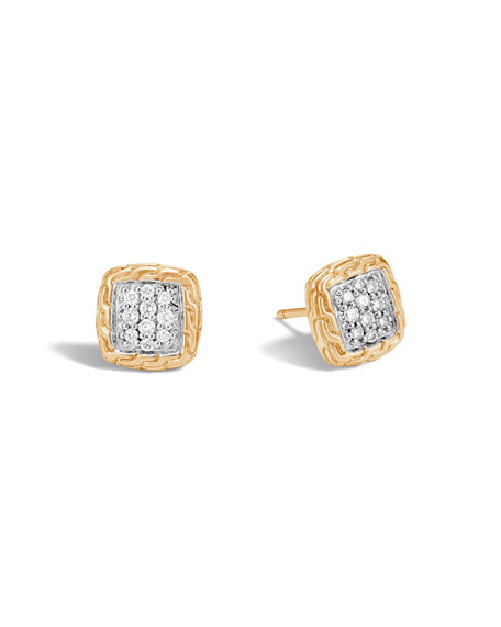 Classic Chain 18K Gold Pavé Diamond Stud Earrings