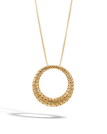 Classic Chain Large Circle Pendant Necklace in 18K Gold, 36""