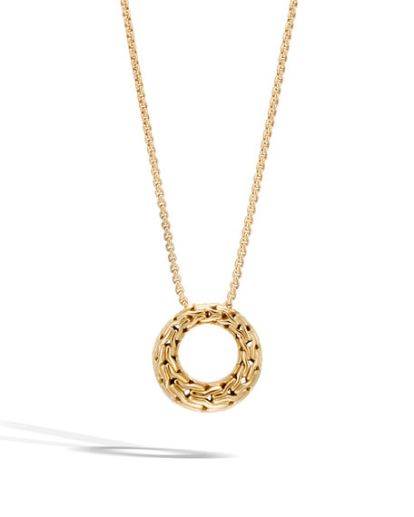 Classic Chain 18K Gold Small Round Pendant Necklace