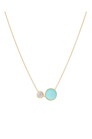 Marco Bicego 18k Jaipur Two-Stone Necklace, Turquoise/Diamonds