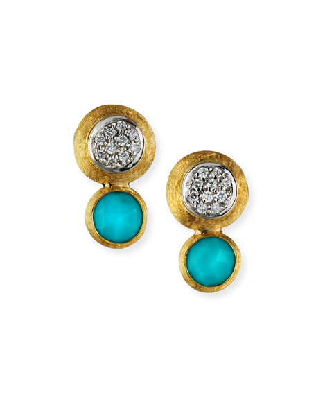 18k Gold Jaipur Two-Stone Stud Earrings, Turquoise/Diamonds