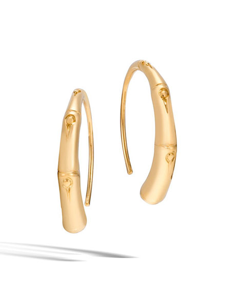 Bamboo 18K Gold Small Hook Earrings