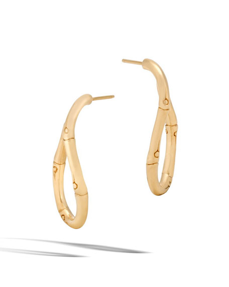 Bamboo Twist 18K Gold Hoop Earrings