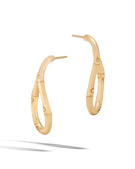 Bamboo Twist 18K Gold Hoop Earrings