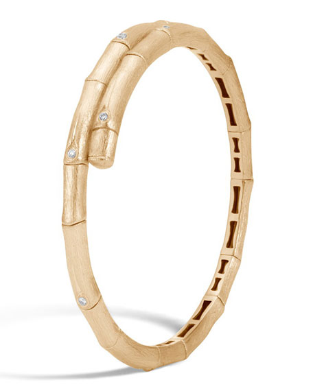 Bamboo 18K Gold Diamond Small Single Coil Bracelet