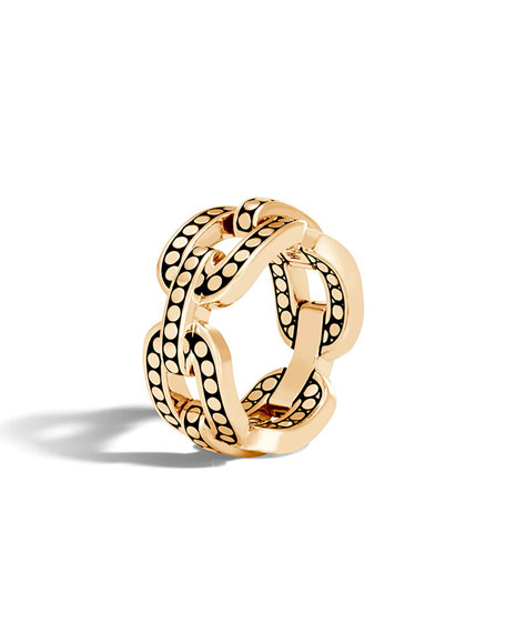 Dot 18k Link Ring, Size 8
