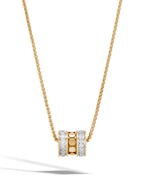 Dot 18K Gold Roller Pendant Necklace with Diamonds