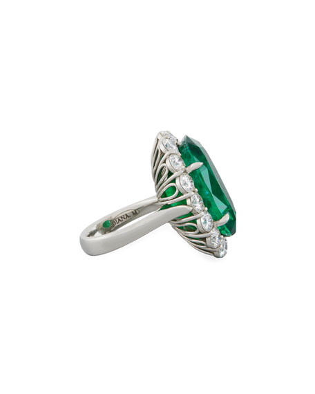 Faceted Oval Emerald & Diamond Ring in Platinum