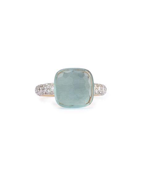 Nudo Grande Rose Gold & Blue Topaz Diamond Ring, Size 52