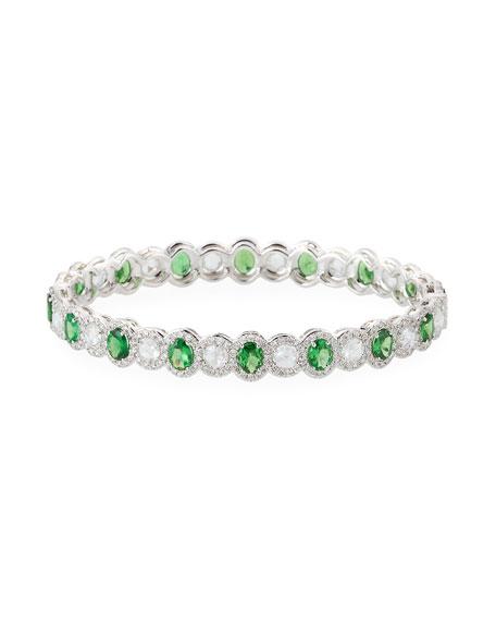 64 Facets Tsavorite & Diamond Bangle Bracelet