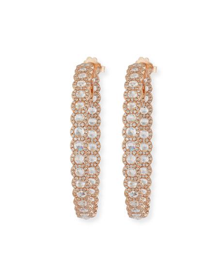 18k Rose Gold Rose-Cut Diamond Hoop Earrings