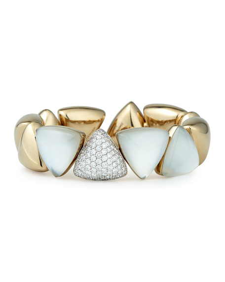 Vhernier Freccia 18k White Gold Rock Crystal White Mother of Pearl White Diamonds Bracelet 6XlD1b88