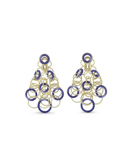 Hawaii Lapis Circle Earrings in 18K Gold
