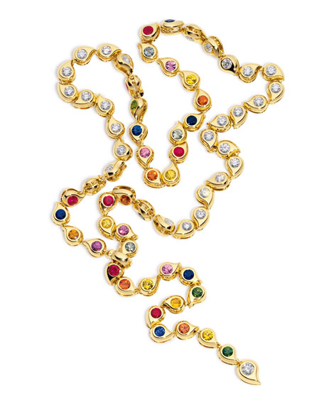 Multicolor Sapphire & Diamond Paisley Necklace in 18K Gold