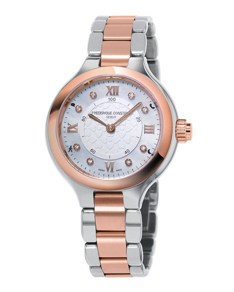 34mm Ladies Horological Stainless Steel & 18K Rose Gold Smart Watch